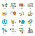 set flat line design business icons vector image