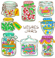 Set of colorful mason jars with greeting wishes vector image vector image