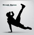 silhouette of a break dancer vector image vector image