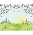 spring landscape forest easter background vector image vector image