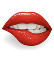 teeth biting red glossy lips female mouth stylish vector image vector image