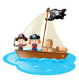 two pirates sailing at sea vector image vector image