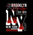 typography design ny brooklyn sport for t-shirt vector image vector image