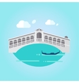 Venice Bridge and Boat in Flat Style vector image