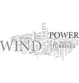 wind power text word cloud concept vector image vector image