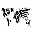 world map in animal print design zebra pattern vector image vector image