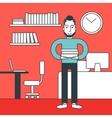 Cheerful office clerk vector image