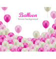 pink white balls down frame white background vector image