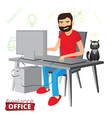 Funny bearded freelancer working at home vector image