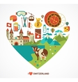Switzerland love - heart with icons vector image