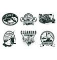 vintage professional cleaning service labels set vector image