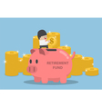 Businessman putting coin into piggy bank 380x400 vector image