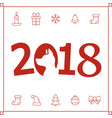 2018 new year card with dog vector image vector image