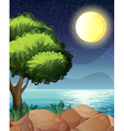 A bright moon and the beautiful nature vector image vector image