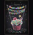birthday invitation card birthday cupcake with vector image vector image
