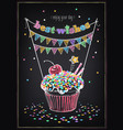 birthday invitation card cupcake vector image