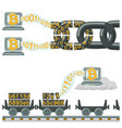 blockchain technology as chain or railway wagons vector image