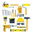 building or repair tools work helmet hammer vector image vector image