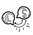 business currency hand drawn icon design outline vector image