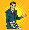 businessman shaking hands with robot new vector image vector image