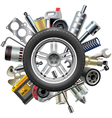 Car Spares Concept with Wheel vector image vector image