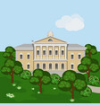 cartoon rich manor house or palace in green vector image