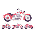 chopper custom motorcycle set in bright red vector image