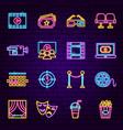 cinema neon icons vector image vector image