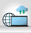 cloud computing on laptop vector image vector image