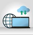 cloud computing on laptop vector image