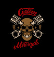 custom motorcycle skull with pistons design vector image vector image