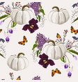 cute hand drawn pumpkin with violet spring flowers vector image