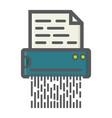 document shredder colorful line icon destroy file vector image
