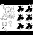 educational shadows game with animals coloring vector image vector image