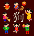 elements of japanese and chinese new year vector image