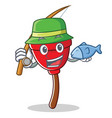 fishing plunger character cartoon style vector image