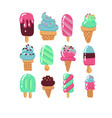 flat hand drawn art icecream icons set dessert vector image vector image