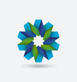 Flower geometric symbol blue and green of