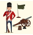 French army soldier with musket near cannon vector image vector image