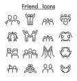 friendship friend icon set in thin line style vector image vector image