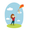 girl and kite child playing nature lawn sky vector image vector image