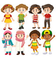 group of international children character vector image