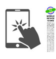 hand click smartphone icon with set vector image vector image