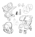 hand drawn set for twins Graphic sketch vector image vector image