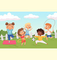 happy active kids characters summer outdoor vector image vector image