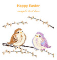 happy easter card with cute little sparrows vector image