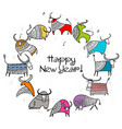 happy new year card 2021 bull ox cow template vector image vector image