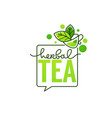 herbal drinks line art logo with hand drawn vector image vector image
