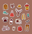 hipster doodle icons stickers set vector image vector image