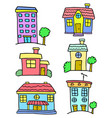 house set colorful of doodles vector image vector image